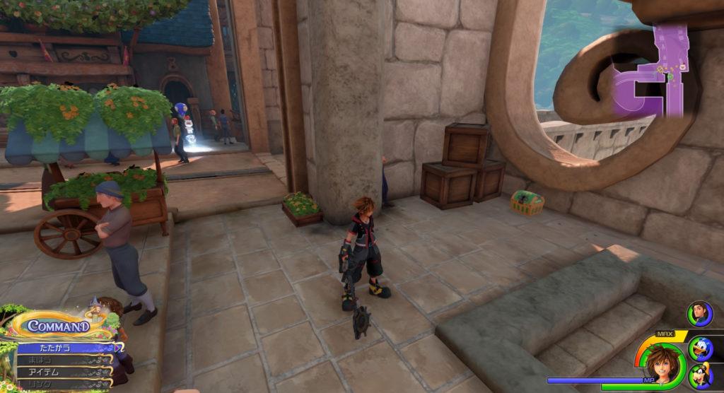 キングダムハーツ3(KH3)のワールド『キングダム・オブ・コロナ』に設置されている宝物リスト(宝箱)のエーテル②です。