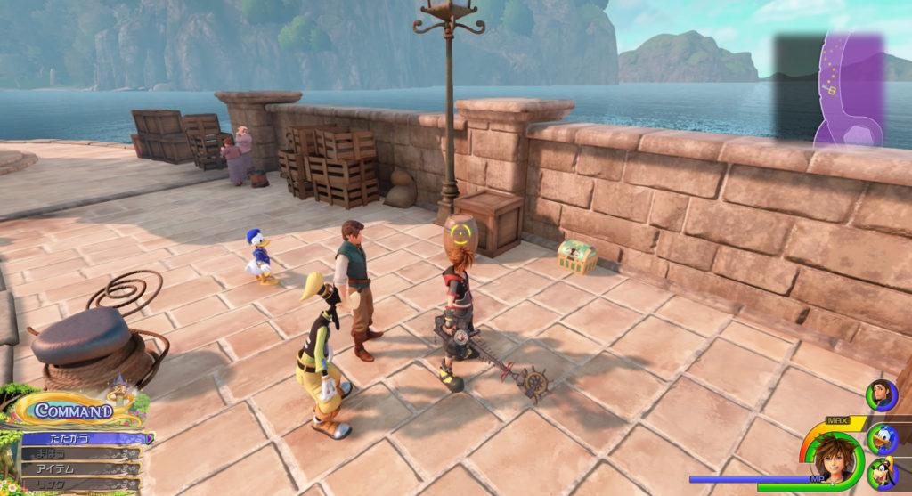 キングダムハーツ3(KH3)のワールド『キングダム・オブ・コロナ』に設置されている宝物リスト(宝箱)のハイポーションです。