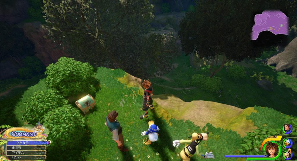 キングダムハーツ3(KH3)のワールド『キングダム・オブ・コロナ』に設置されている宝物リスト(宝箱)のハイエーテルです。