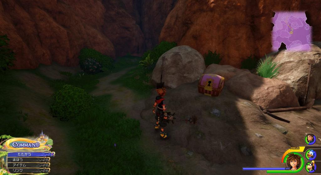 キングダムハーツ3(KH3)のワールド『キングダム・オブ・コロナ』に設置されている宝物リスト(宝箱)のエアロカフスです。