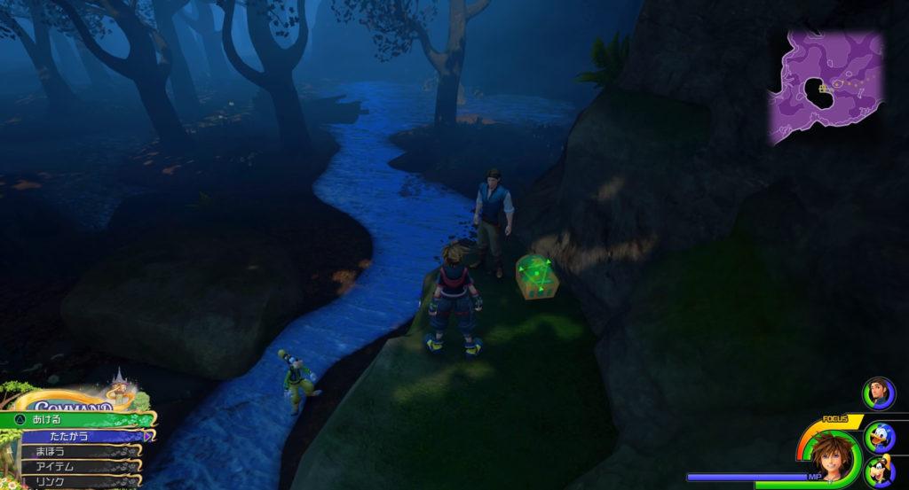 キングダムハーツ3(KH3)のワールド『キングダム・オブ・コロナ』に設置されている宝物リスト(宝箱)のポーション②です。