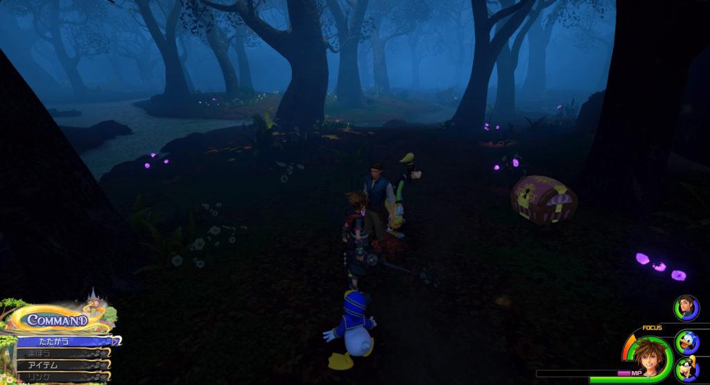 キングダムハーツ3(KH3)のワールド『キングダム・オブ・コロナ』に設置されている宝物リスト(宝箱)の森の地図(2/2)です。