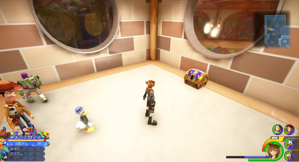キングダムハーツ3(KH3)のワールド『トイボックス』に設置されている宝物リスト(宝箱)のThe Barnyard Battleです。
