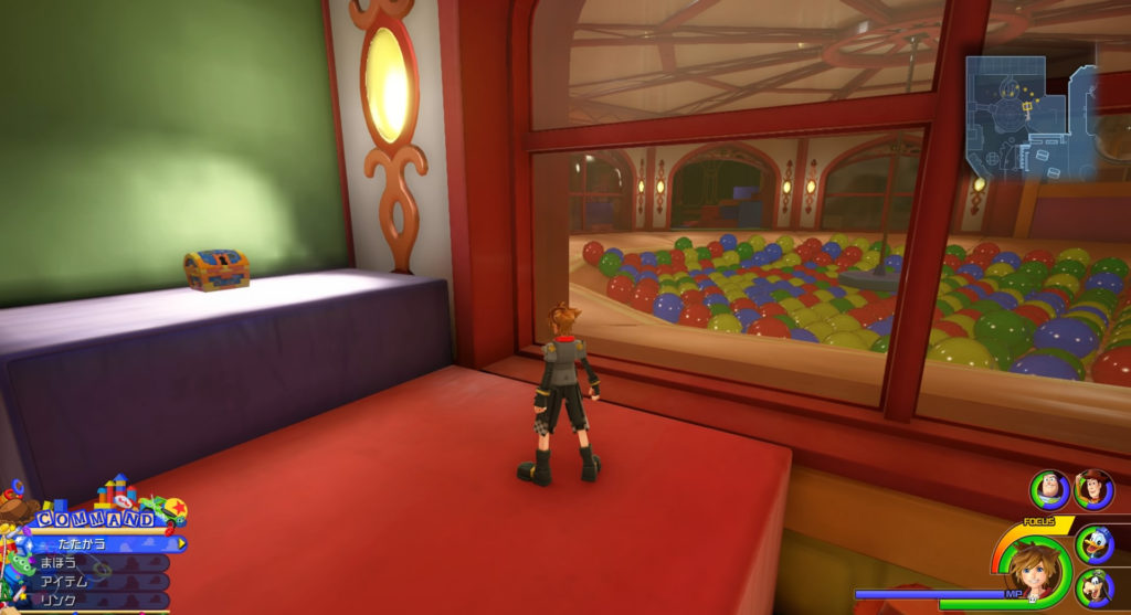 キングダムハーツ3(KH3)のワールド『トイボックス』に設置されている宝物リスト(宝箱)のバスターリングです。