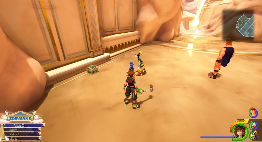 キングダムハーツ3(KH3)のオリンポスに設置されている宝物リスト(宝箱)のフォーカスリカバー②です。