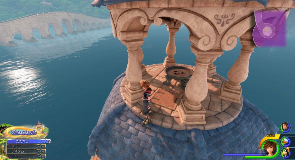 キングダムハーツ3(KH3)のワールド『キングダム・オブ・コロナ(コロナの町)』で発見可能な幸運のマーク⑨です。
