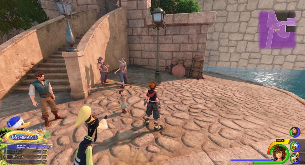 キングダムハーツ3(KH3)のワールド『キングダム・オブ・コロナ(コロナの町)』で発見可能な幸運のマーク⑧です。