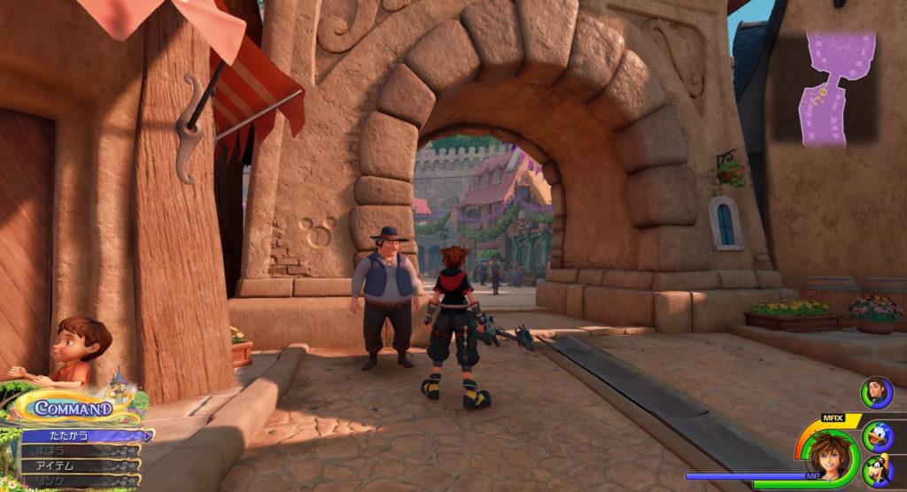 キングダムハーツ3(KH3)のワールド『キングダム・オブ・コロナ(コロナの町)』で発見可能な幸運のマーク⑤です。