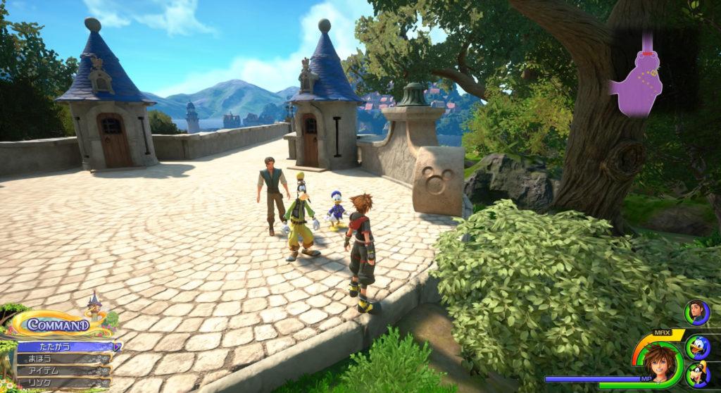 キングダムハーツ3(KH3)のワールド『キングダム・オブ・コロナ(森/岸辺)』で発見可能な幸運のマーク④です。