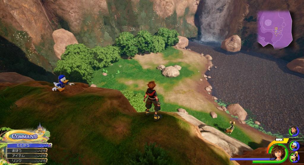 キングダムハーツ3(KH3)のワールド『キングダム・オブ・コロナ(森/塔)』で発見可能な幸運のマーク①です。