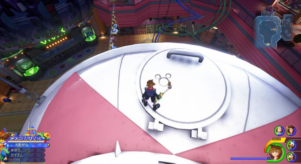 キングダムハーツ3(KH3)の『トイボックス(ギャラクシートイズ:3F)』で発見可能な幸運のマーク⑧です。