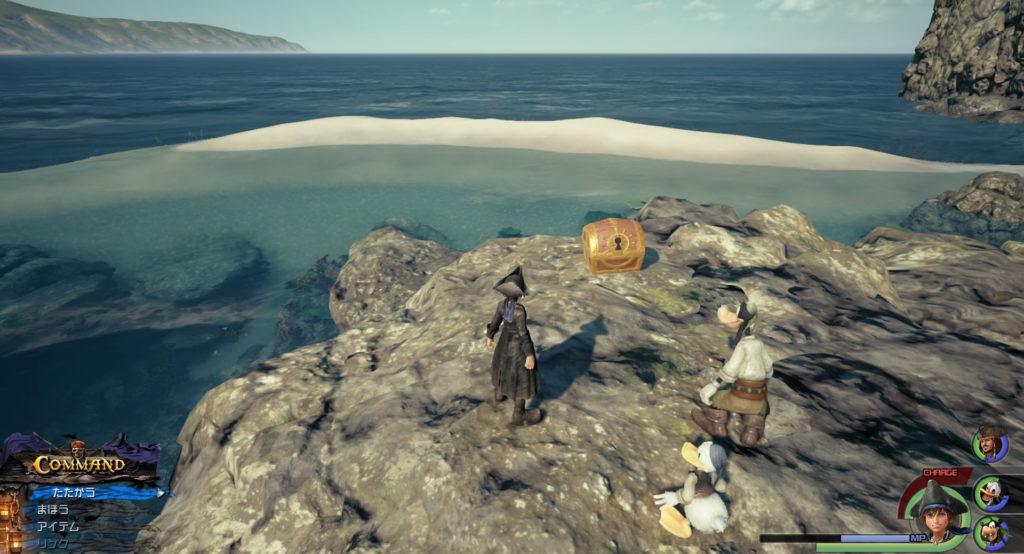 キングダムハーツ3(KH3)のワールド『ザ・カリビアン』で回収可能な砂の島の地図です。