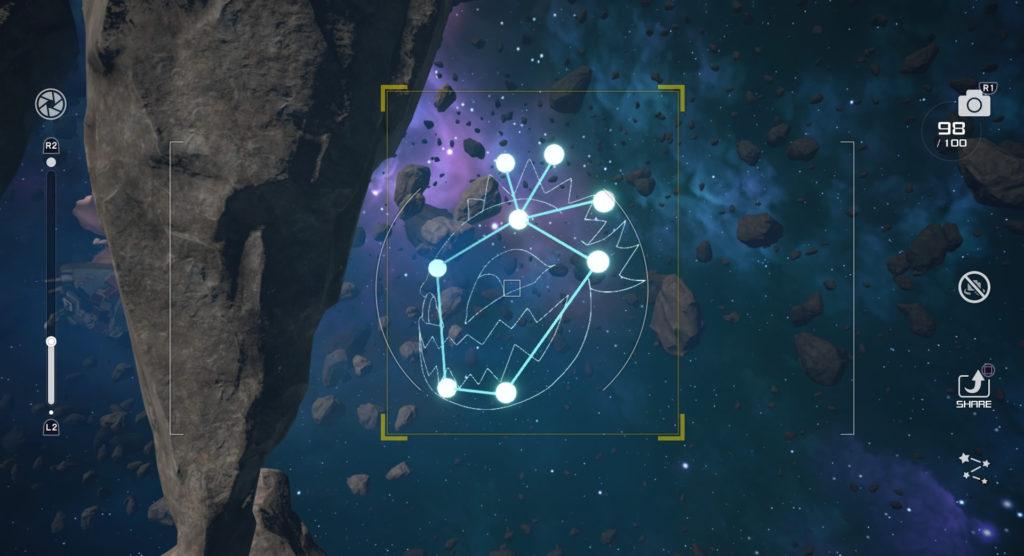 キングダムハーツ3(KH3)のスターライトウェイで撮影可能な星座のボム座です。