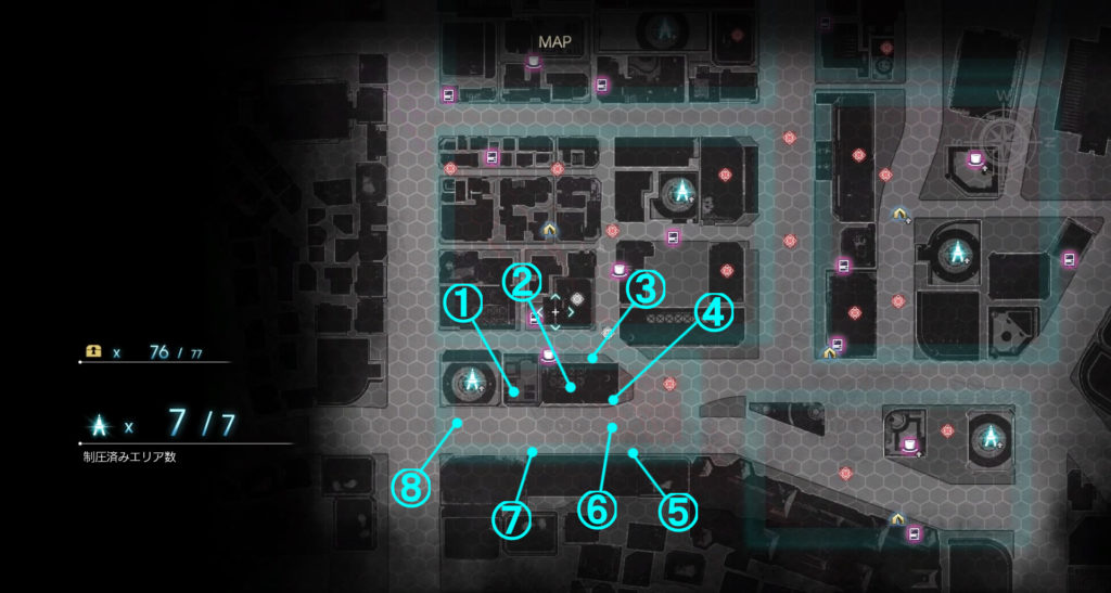 DLC『エピソードアーデン』の『G地区』に関する全体マップです。