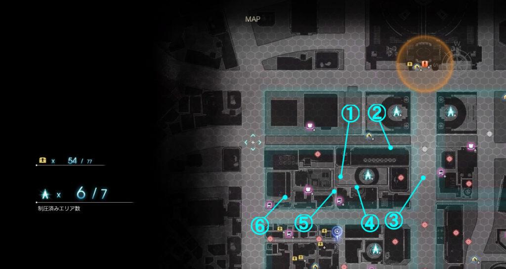 DLC『エピソードアーデン』の『D地区』に関する全体マップです。