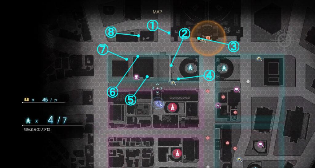 DLC『エピソードアーデン』の『E地区』に関する全体マップです。