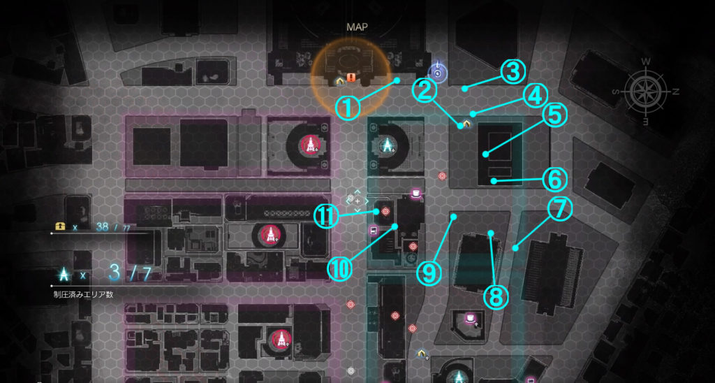 DLC『エピソードアーデン』の『F地区』に関する全体マップです。