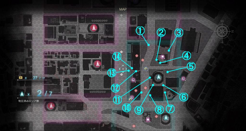DLC『エピソードアーデン』の『B地区』に関する全体マップです。