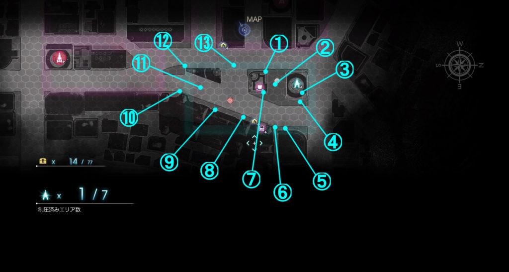 DLC『エピソードアーデン』の『A地区』に関する全体マップです。