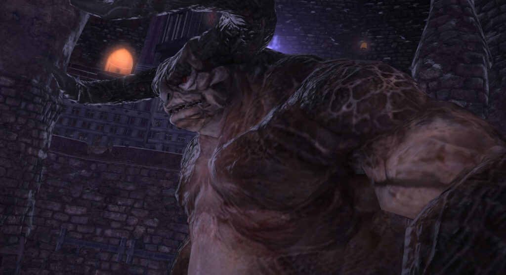 FF14のダンジョン『魔獣領域 ハラタリ修練所』に出現するボス『獣闘士タンガタ』のイメージ画像です。
