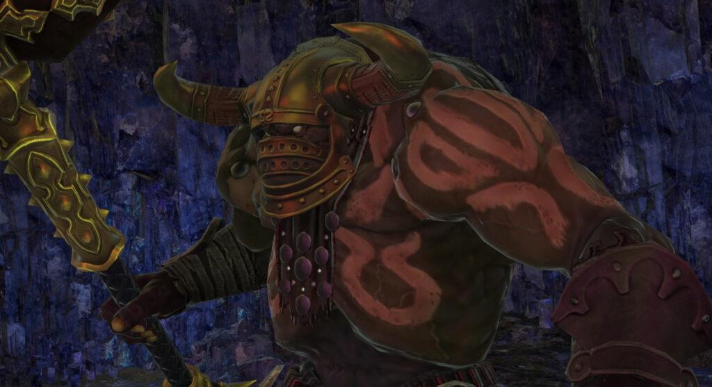 FF14のダンジョン『封鎖坑道 カッパーベル銅山』に出現するボス『豪腕のギュゲス』のイメージ画像です。