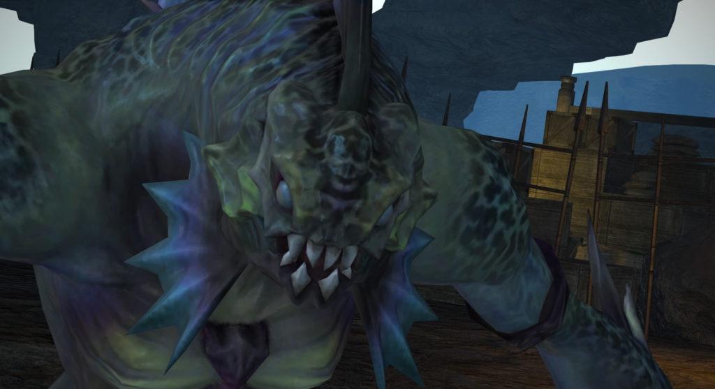 FF14のダンジョン『天然要害 サスタシャ浸食洞』に出現するボス『鯱牙のデェン』のイメージ画像です。