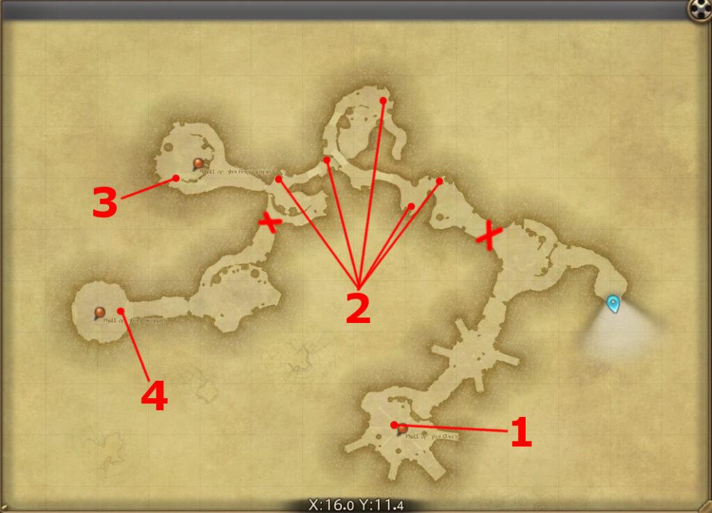 FF14のダンジョン『魔獣領域 ハラタリ修練所』の全体マップです。