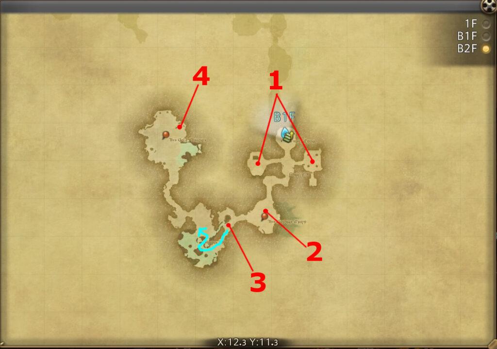 FF14のダンジョン『封鎖坑道 カッパーベル銅山:B2F』の全体マップです。