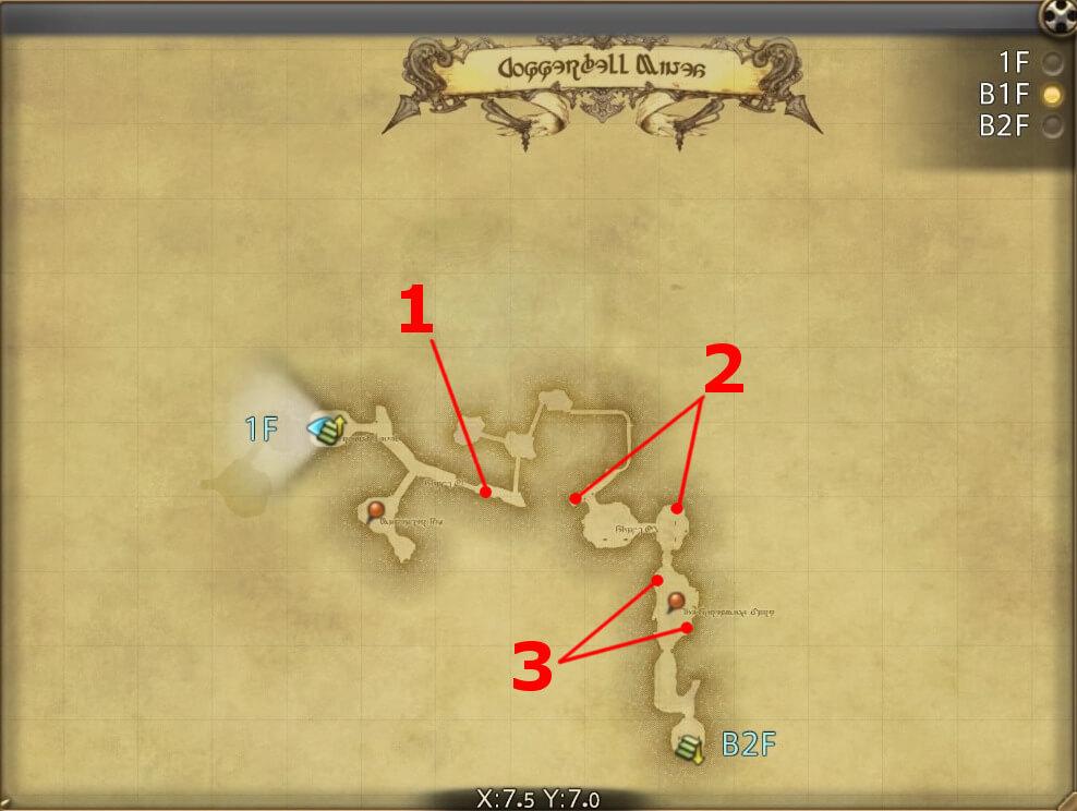 FF14のダンジョン『封鎖坑道 カッパーベル銅山:B1F』の全体マップです。
