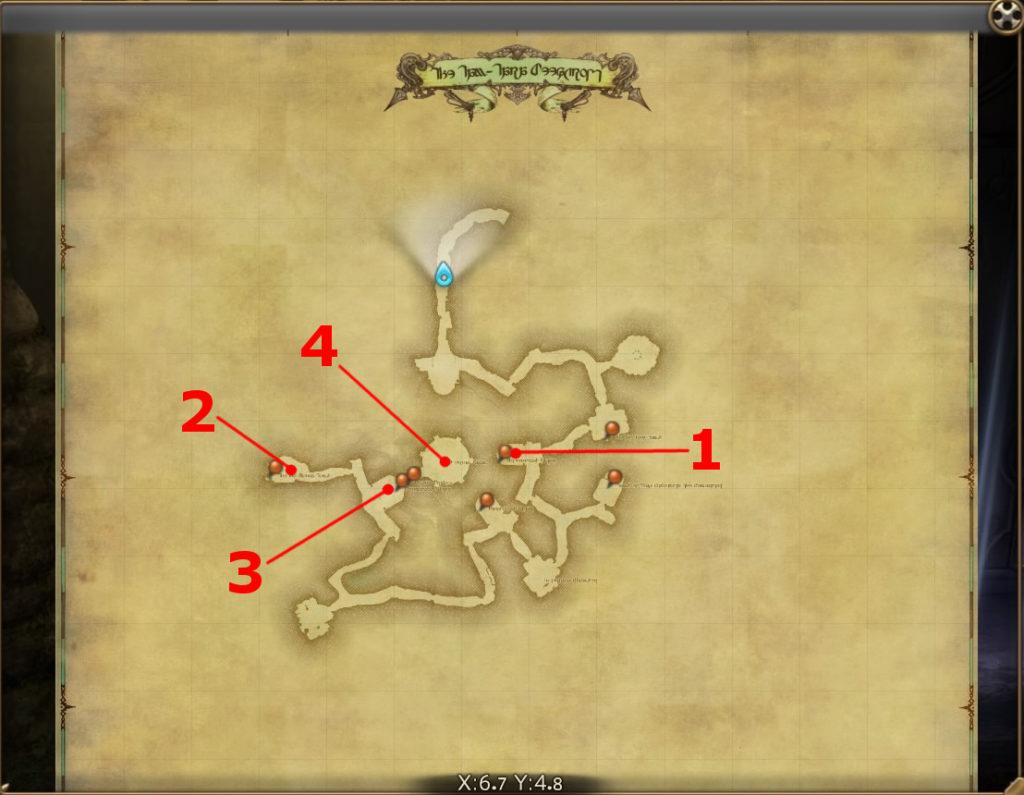 FF14のダンジョン『地下霊殿 タムタラの墓所』の全体マップです。