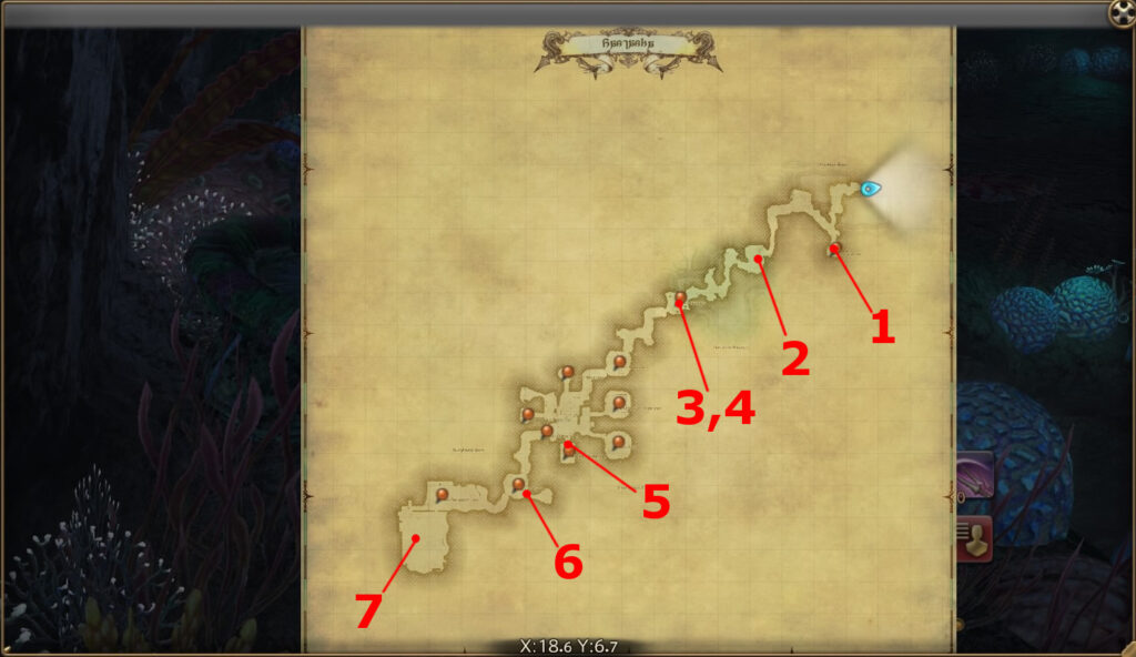 FF14のダンジョン『天然要害 サスタシャ浸食洞』の全体マップです。