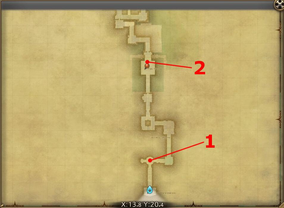 FF14のダンジョン『旅神聖域 ワンダラーパレス(前半)』の全体マップです。