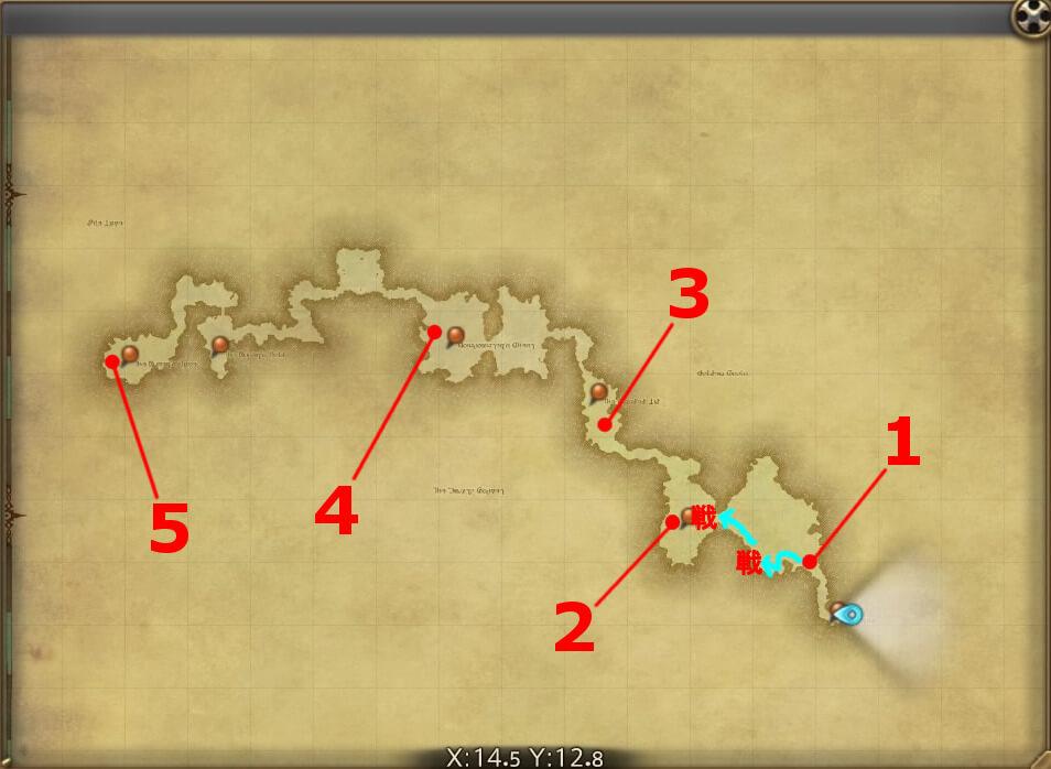 FF14のダンジョン『霧中行軍 オーラムヴェイル』の全体マップです。