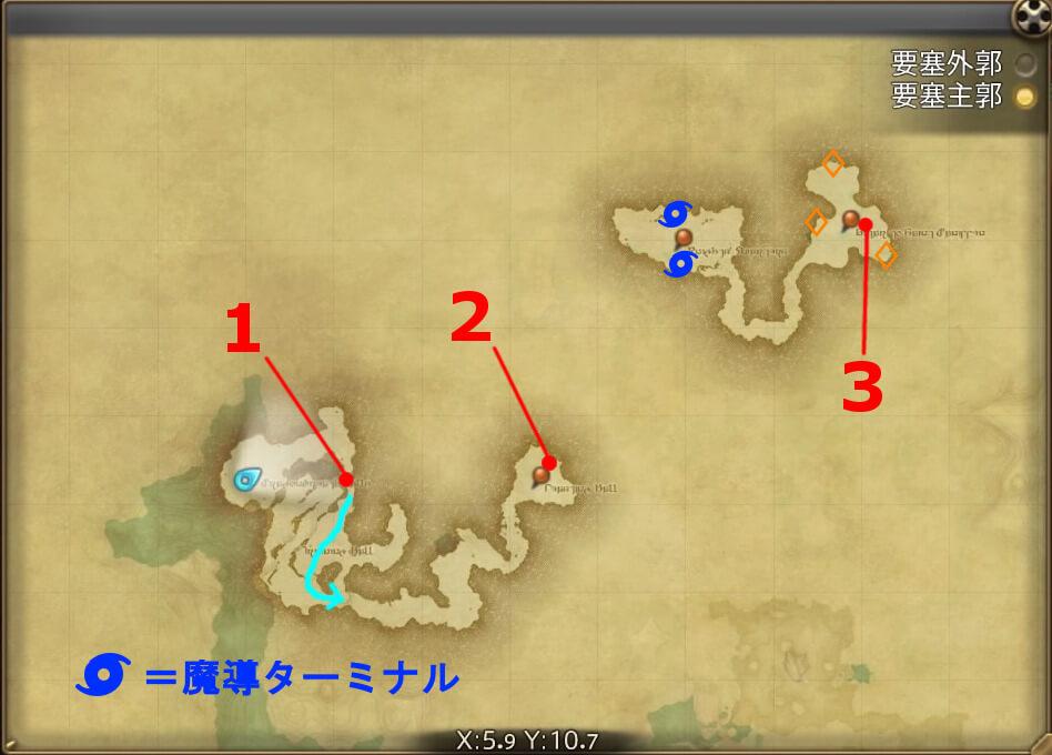 FF14のダンジョン『掃討作戦 ゼーメル要塞(要塞主郭)』の全体マップです。