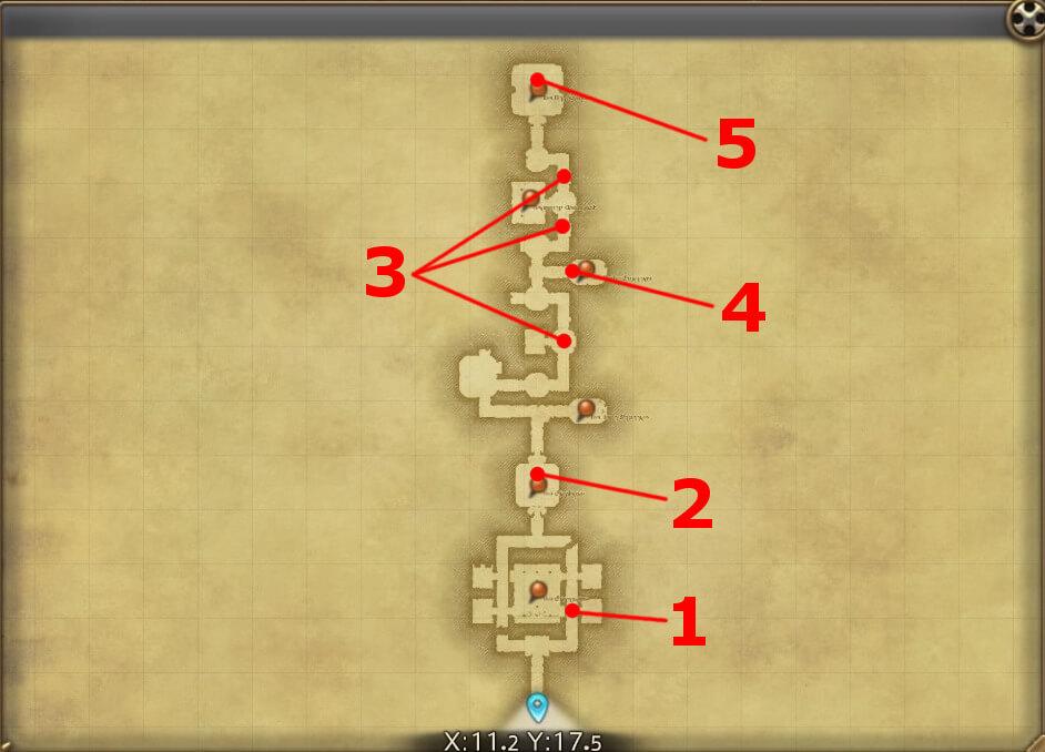 FF14のダンジョン『城塞攻略 ストーンヴィジル』の全体マップです。
