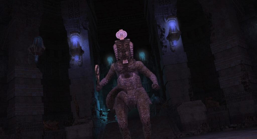 FF14のダンジョン『遺跡探索 カルン埋没寺院』に出現するボス『アーゼマジャッジ』のイメージ画像です。