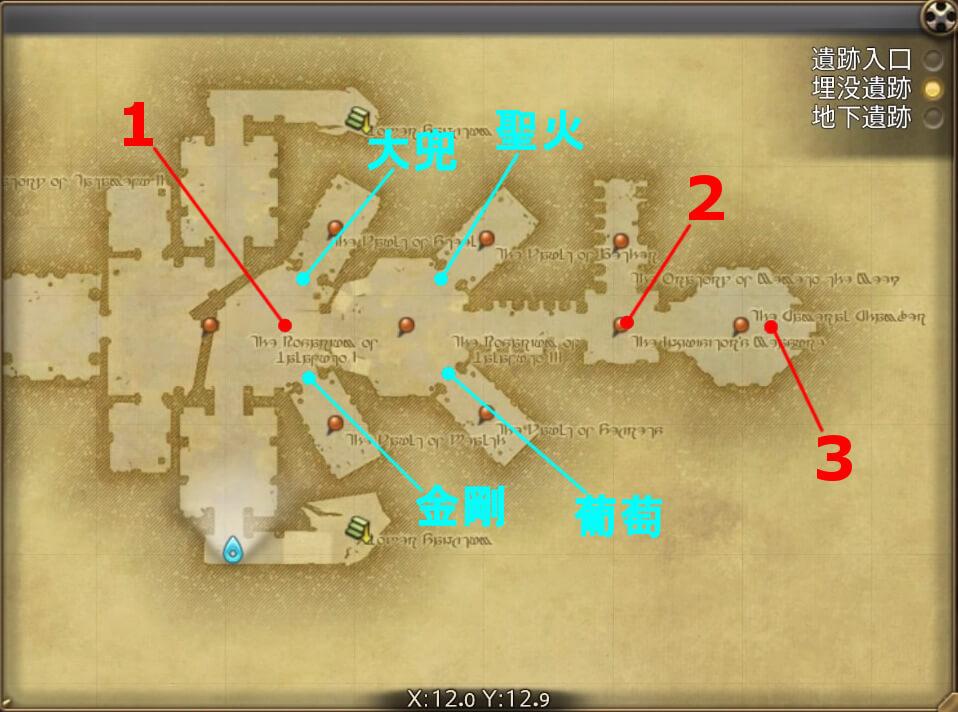 FF14のダンジョン『遺跡探索 カルン埋没寺院(埋没遺跡:後半)』の全体マップです。