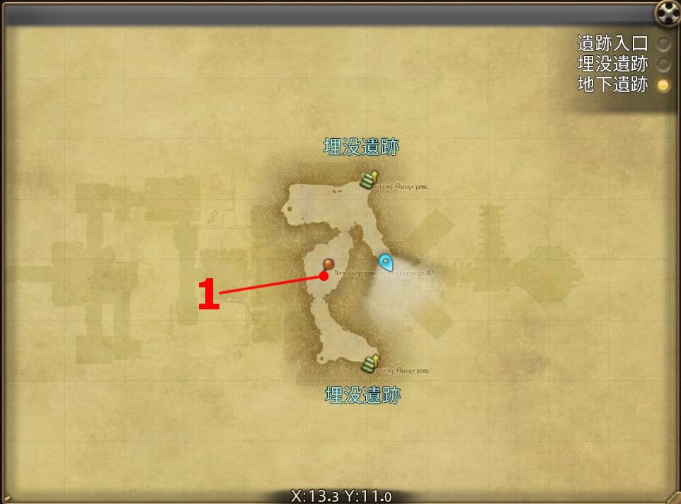 FF14のダンジョン『遺跡探索 カルン埋没寺院(地下遺跡)』の全体マップです。