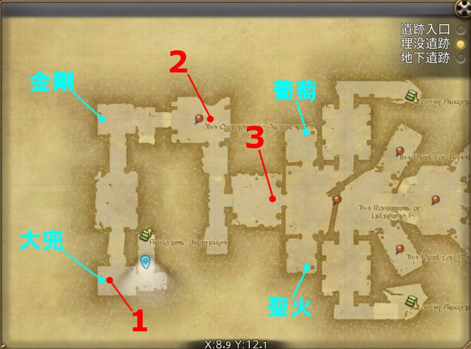 FF14のダンジョン『遺跡探索 カルン埋没寺院(埋没遺跡:前半)』の全体マップです。