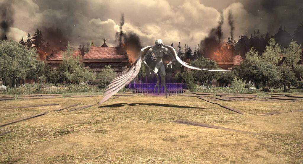 FF14の漆黒ヴィランズ(5.0)で追加されたダンジョン『殺戮郷村 ホルミンスター』に出現するボス『フォーギヴン・テスリーン』のイメージ画像です。