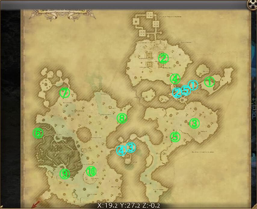 FF14の漆黒エリア『ラケティカ大森林』で解放可能な風脈の泉の全体マップです。