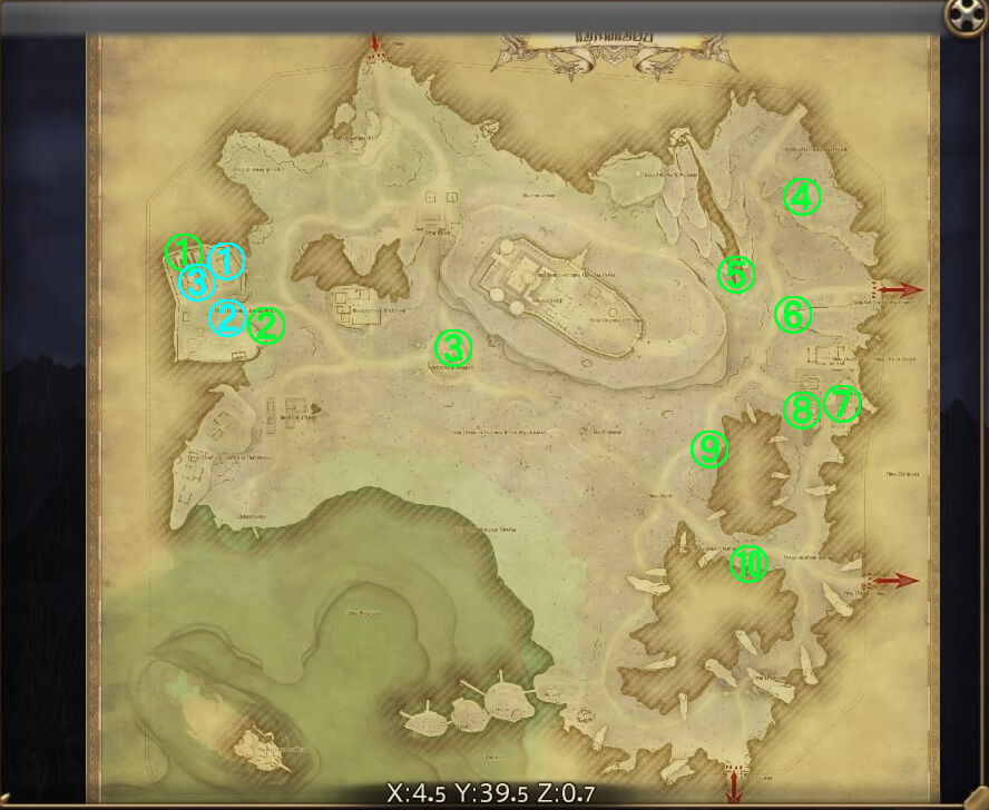 漆黒エリア『レイクランド』の風脈に関する全体マップです。
