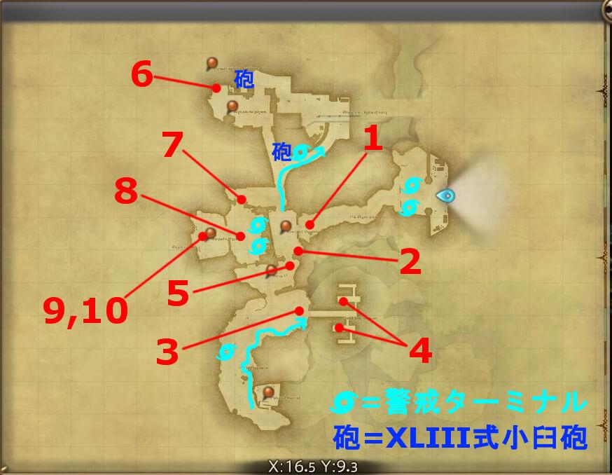 FF14のダンジョン『外郭攻略 カストルム・メリディアヌム』の全体マップです。