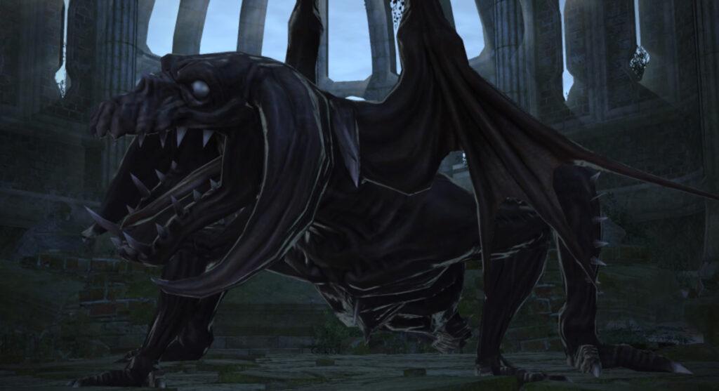 FF14のダンジョン『邪教排撃 古城アムダプール』に出現するラスボス『アナンタボガ』のイメージ画像です。