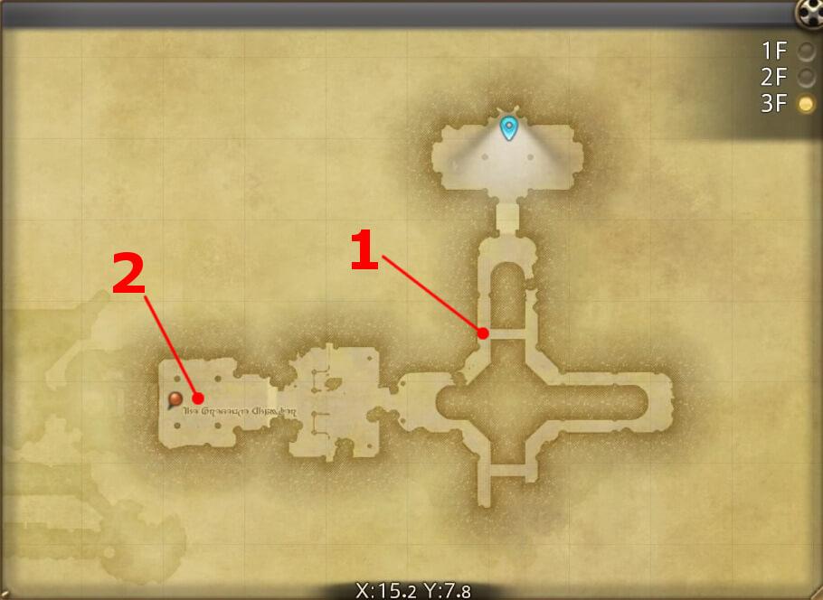 FF14のダンジョン『邪教排撃 古城アムダプール:3F』の全体マップです。