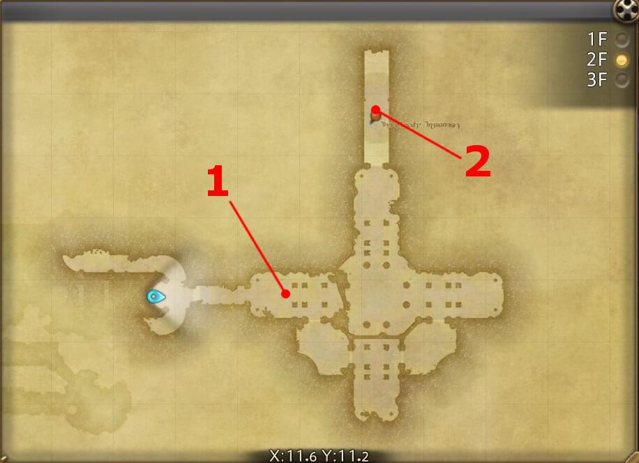 FF14のダンジョン『邪教排撃 古城アムダプール:2F』の全体マップです。