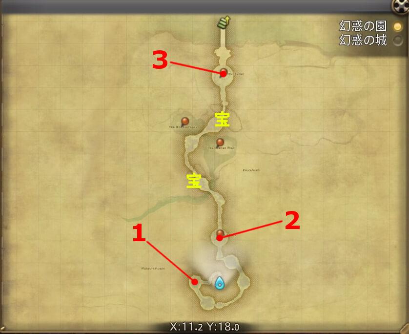 FF14の5.0ダンジョン『水妖幻園 ドォーヌ・メグ』の全体マップ(幻惑の園)です。