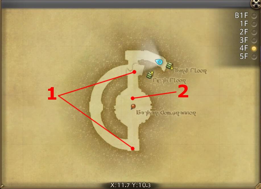 FF14のダンジョン『怪鳥巨塔 シリウス大灯台:4F』の全体マップです。