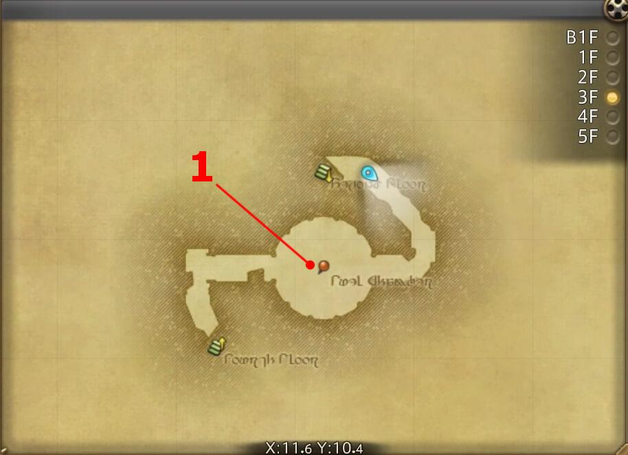 FF14のダンジョン『怪鳥巨塔 シリウス大灯台:3F』の全体マップです。