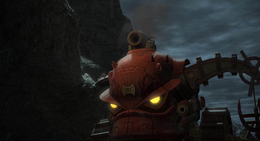 FF14のダンジョン『盟友支援 ブレイフロクスの野営地(ハード)』に出現するラスボス『VI号ゴブリタンク』のイメージ画像です。